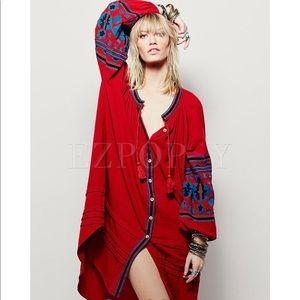 NWT EZPOPSY Red Blue Embroidered Shirt Dress L /XL